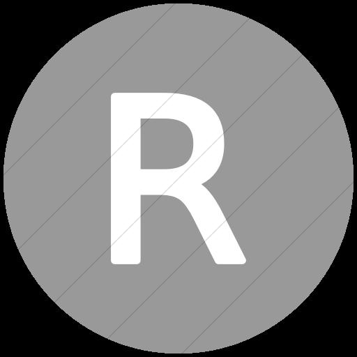 Flat Circle White On Light Gray Alphanumerics Uppercase