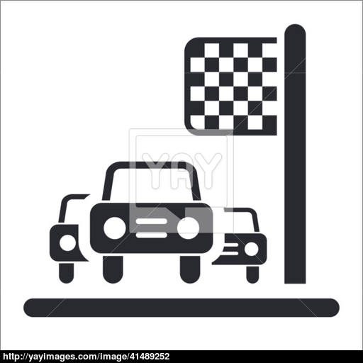 Vector Illustration Of Single Race Car Arrival Icon Vector