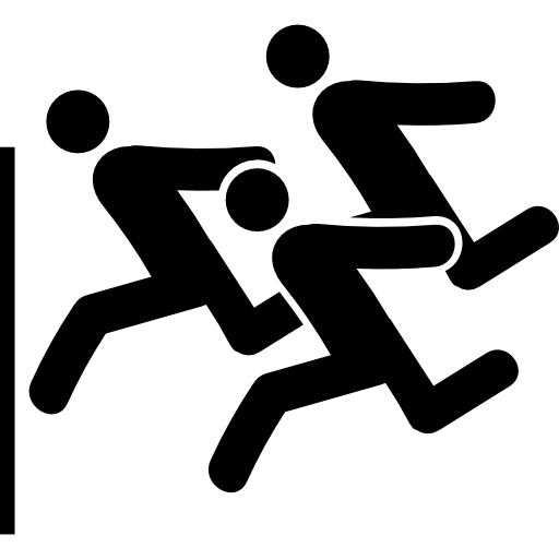 Silhouettes Of A Group Doing A Race Icons Free Download