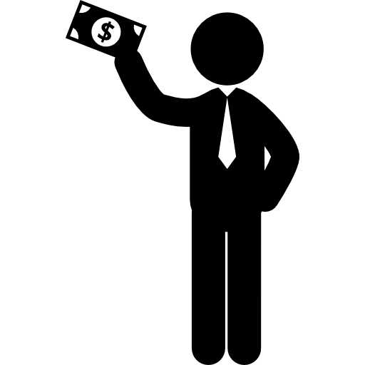 Man Standing Holding A Bill In His Raised Right Hand Icons Free