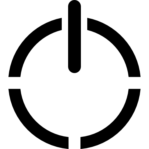 Power Symbol Variant With The Circle Of Four Parts Icons Free