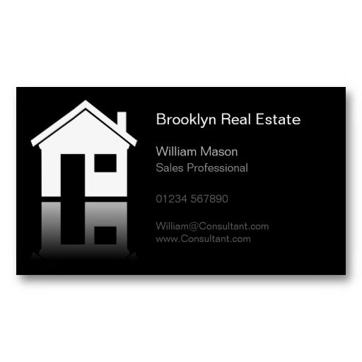 Simple Home Icon Real Estate Agent Business Card Professional