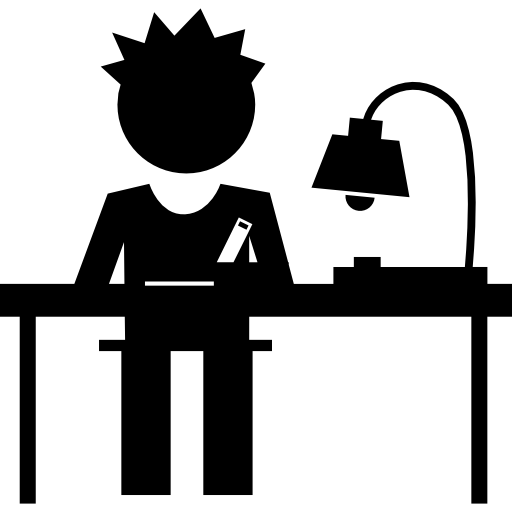 Student Writing On His Desk Icons Free Download