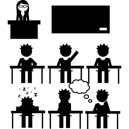 Students And Teacher In Class Icons Free Download