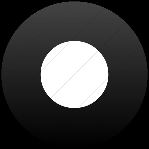 Flat Circle White On Black Gradient Classica Record