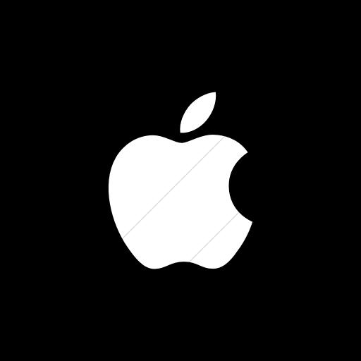Flat Circle White On Black Social Media Apple Icon
