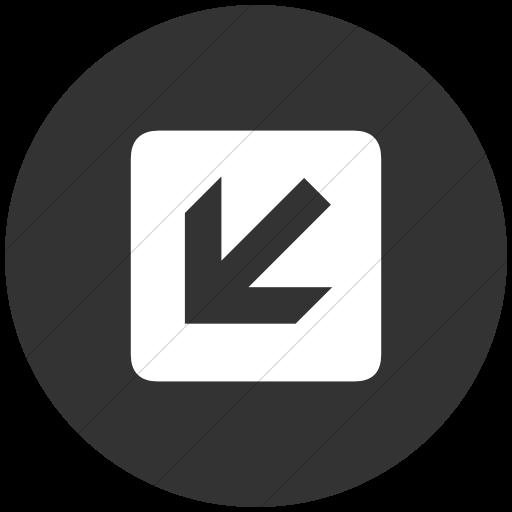 Flat Circle White On Dark Gray Aiga Left And Down Arrow