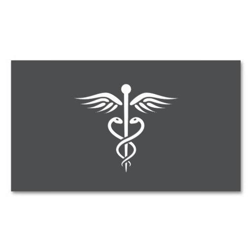 Modern Stylish Gray Medical Doctor Caduceus Business Card Zazzle