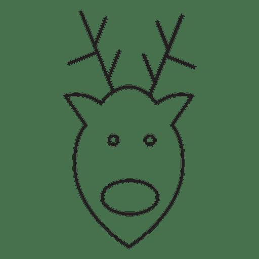 Reindeer Head Stroke Icon
