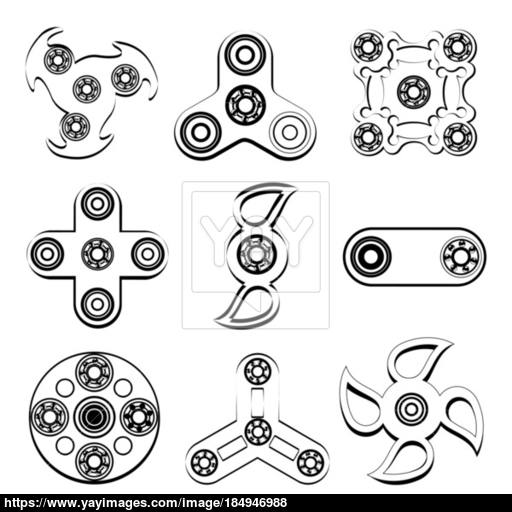 Fidget Spinner Stress Relief Toys Silhouette Of Flat Icon Vector