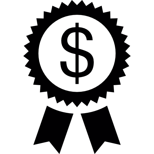 Dollar Symbol On A Circular Pennant With Ribbon