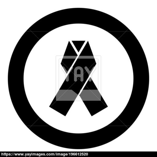 Ribbon Icon Black Color In Circle Vector