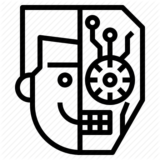 Avatar, Half, Head, Human, Robot Icon