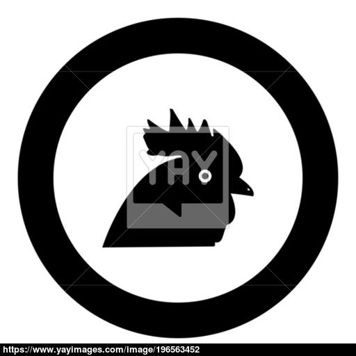 Rooster Head Icon Black Color In Circle Vector
