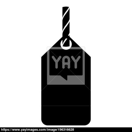 Label On The Rope Icon Black Color Illustration Flat Style Simple