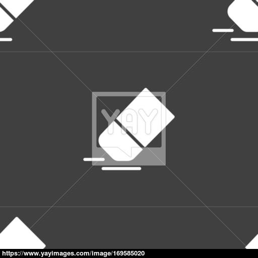 Eraser, Rubber Icon Sign Seamless Pattern On A Gray Background