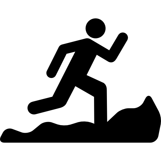 Mountain Running Silhouette Icons Free Download