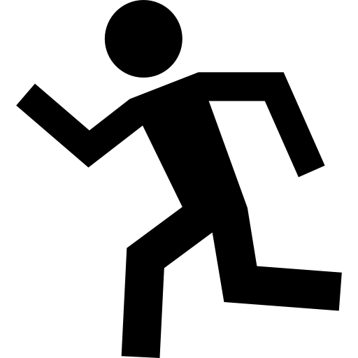 Running Man Silhouette To Left Icons Free Download