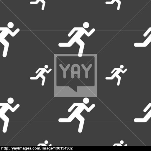 Running Man Icon Sign Seamless Pattern On A Gray Background