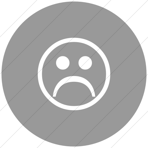 Flat Circle White On Light Gray Classica Sad Face Icon