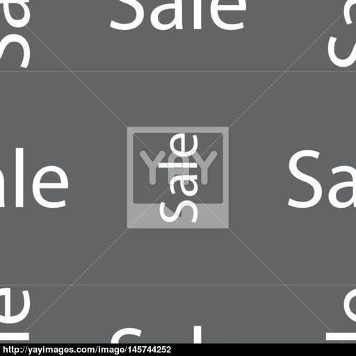 Sale Tag Icon For Special Offer Seamless Pattern On A Gray