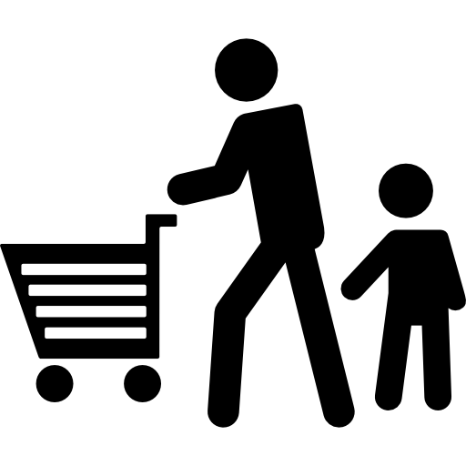 Father On Shopping With His Son Icons Free Download