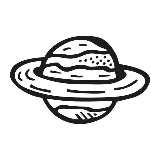 Saturn Icon Free Of Space Hand Drawn Black Sticker