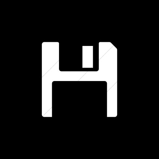 Flat Rounded Square White On Black Foundation Save Icon