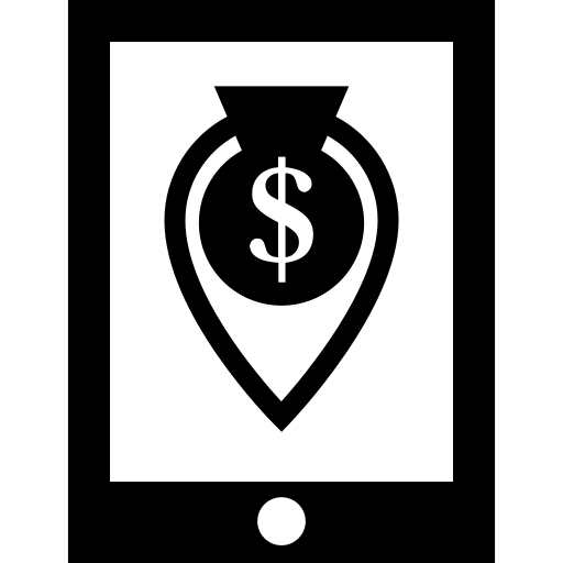 Money Location Symbol On Mobile Phone Screen Png Icon