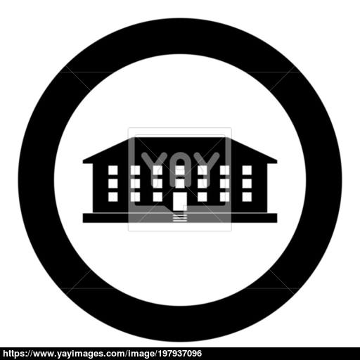 School Building Icon Black Color Vector Illustration Simple Image
