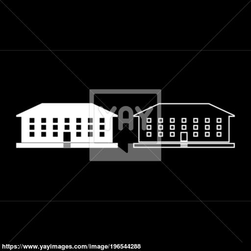 School Building Icon Set White Color Illustration Flat Style