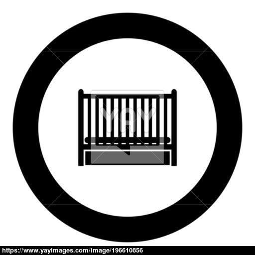 Baby Bed Icon Black Color In Circle Vector