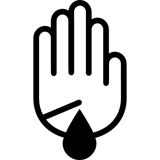 Hand Palm Outline With Scratch Wound With Blood Droplet Icons