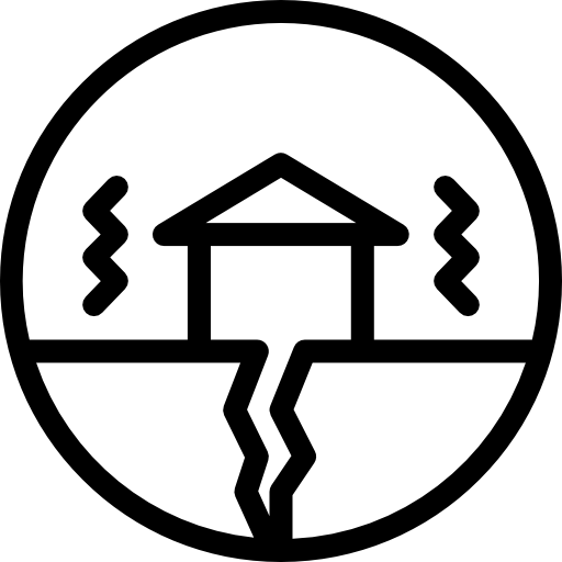 Earthquake, Cracked, Buildings, House, Home Icon