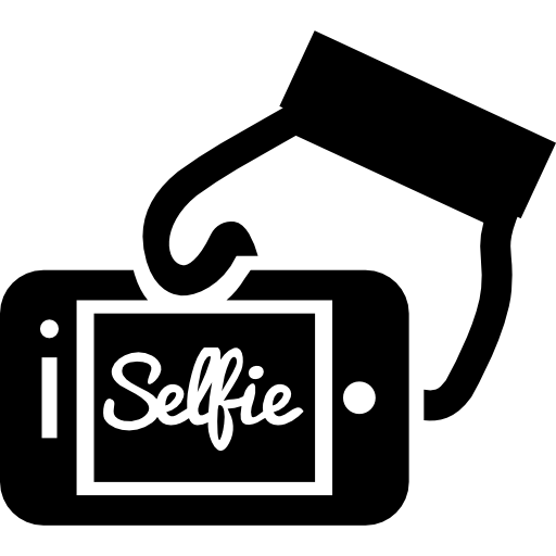 Selfie On Phone Screen In A Hand Icons Free Download