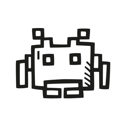 Space, Invader Icon Free Of Space Hand Drawn Black Sticker