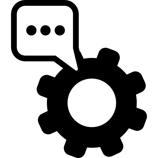 Text Settings Symbol Of A Cogwheel With A Speech Bubble Icons