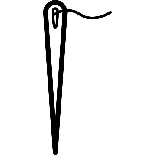 Needle Outline In Vertical With A Short Thread In The Hole Icons