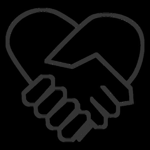 Heart Shaped Hand Shake Icon