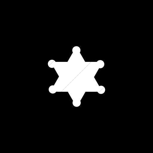 Flat Circle White On Black Foundation Sheriff Badge Icon