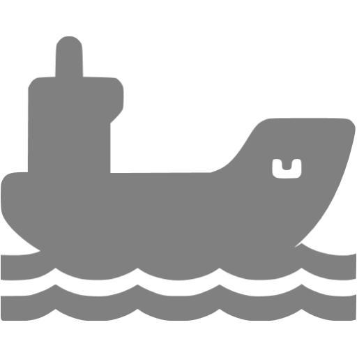 Gray Cargo Ship Icon