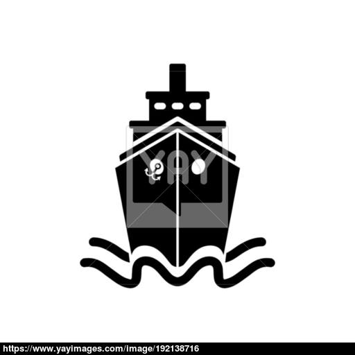 Ship Icon In Flat Style Black Pictogram On White Vector