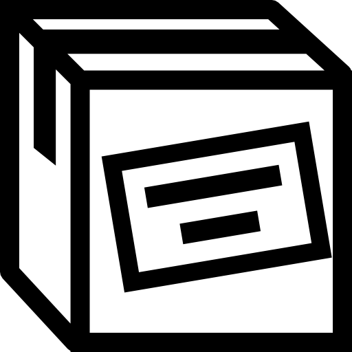 Cargo Box Outline With Label Icons Free Download