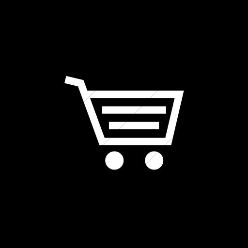 Flat Circle White On Black Classica Shopping Cart Icon