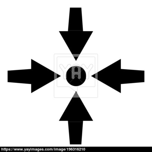 Four Arrows Point Show To Dot Icon Black Color Illustration Flat