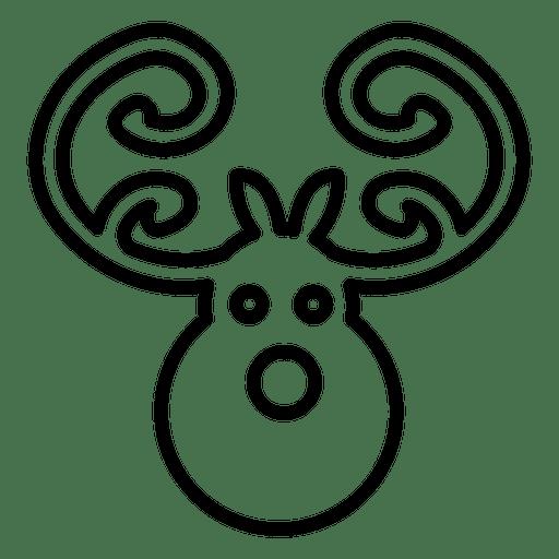 Deer Head Line Icon