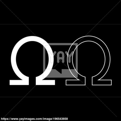 Symbol Omega Icon Set White Color Illustration Flat Style Simple