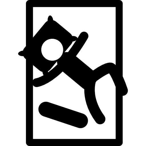 Person Sleeping On Single Bed In Diagonal Position Icons Free