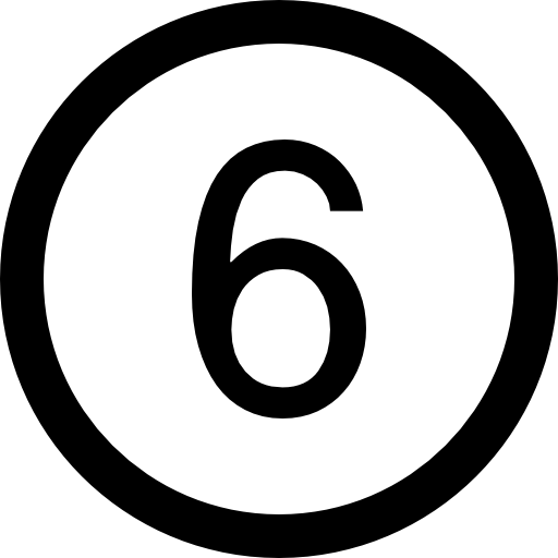 Number Six In A Circle Icons Free Download