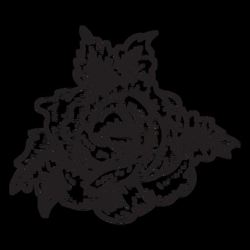 Blooming Rose Head Sketch Icon Flower